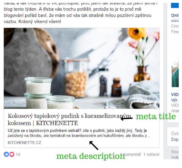 Meta title a meta description na Faceboku