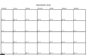 plánovací kalendář prázdniny 2018